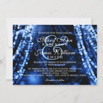 elegant wedding blue string lights invitation