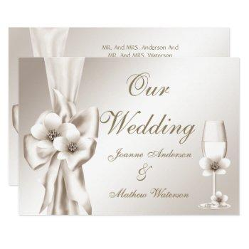 elegant wedding champagne floral cream bow invitation