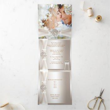 elegant wedding damask cream white champagne 3 tri-fold invitation