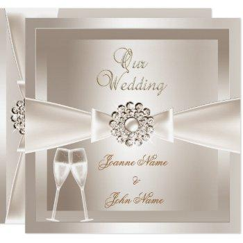 elegant wedding damask cream white champagne invitation