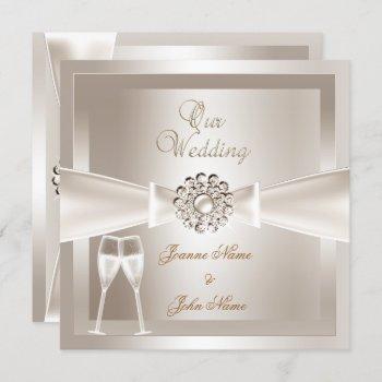 elegant wedding damask cream white champagne invitation