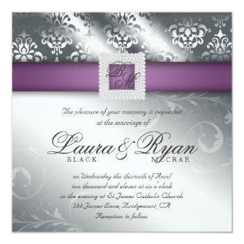 elegant wedding damask jewel purple silver invitation