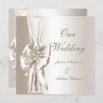 elegant wedding damask pearl cream white bow invitation