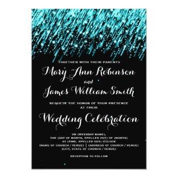 elegant wedding falling stars turquoise invitation