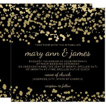 elegant wedding gold foil look confetti invitation