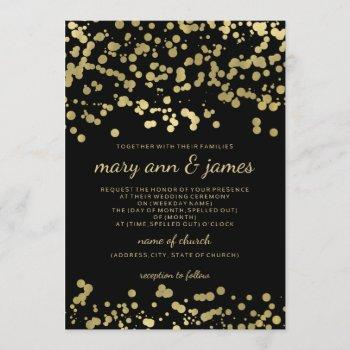 elegant wedding gold foil look confetti invitation