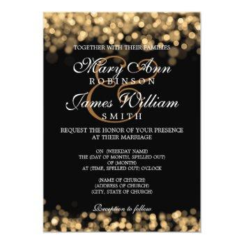 Small Elegant Wedding Gold Lights Invitation Front View