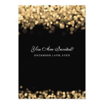 Small Elegant Wedding Gold Lights Invitation Back View