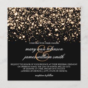 elegant wedding gold midnight glam invitation