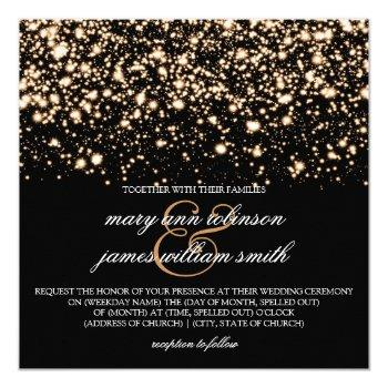 elegant wedding gold midnight glam invitation