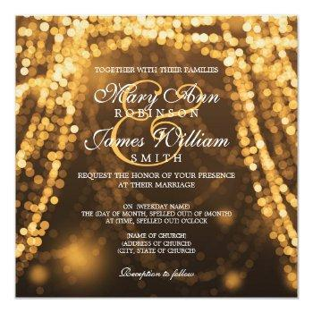 elegant wedding gold string lights invitation
