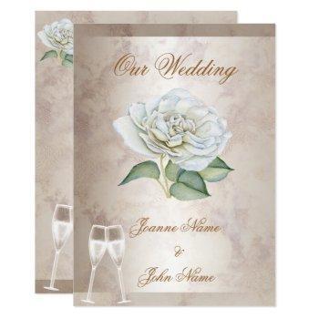 elegant wedding marble rose cream white champagne invitation