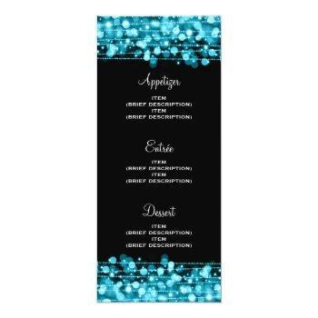 elegant wedding menu party sparkles turquoise invitation