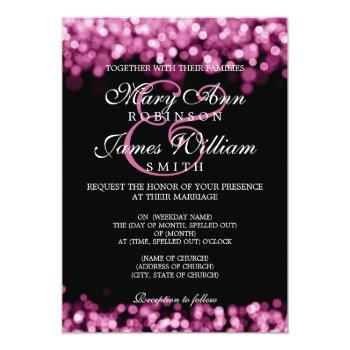 elegant wedding pink lights invitation