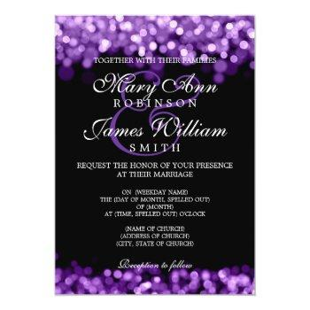 Small Elegant Wedding Purple Lights Invitation Front View