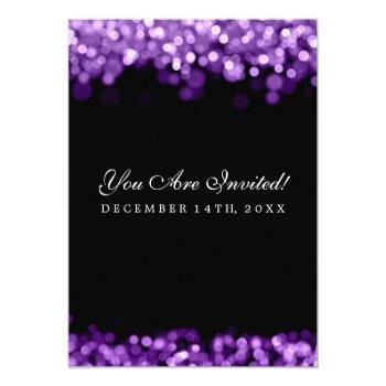 Small Elegant Wedding Purple Lights Invitation Back View