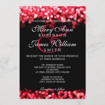 elegant wedding red lights invitation