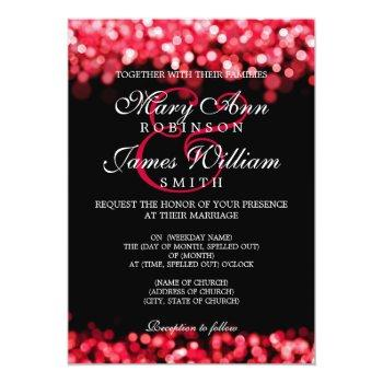 elegant wedding red lights invitation