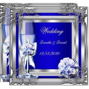 elegant wedding silver blue floral roses invitation