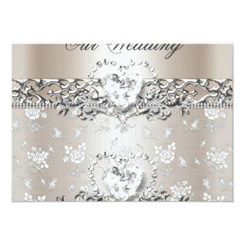 Small Elegant Wedding Silver Cream Diamond Heart Invitation Front View