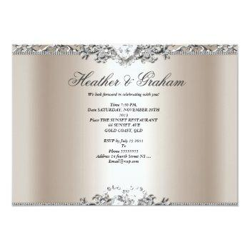 Small Elegant Wedding Silver Cream Diamond Heart Invitation Back View