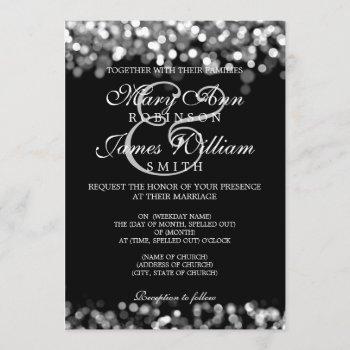 elegant wedding silver lights invitation