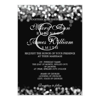 elegant wedding silver lights invitation