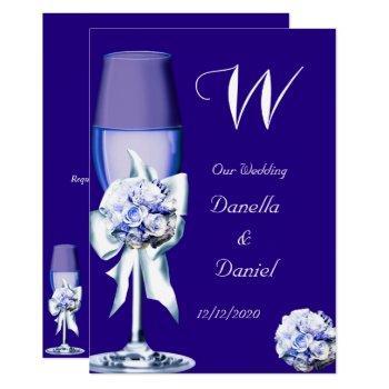 elegant wedding silver navy blue floral roses invitation