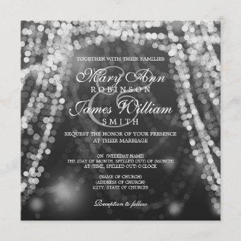 elegant wedding silver string lights invitation