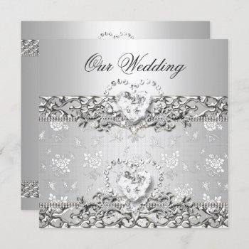 elegant wedding silver white diamond heart invitation