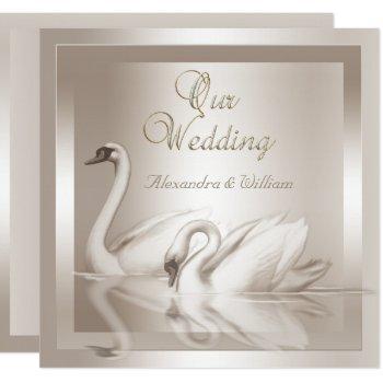 elegant wedding swans damask cream white invitation