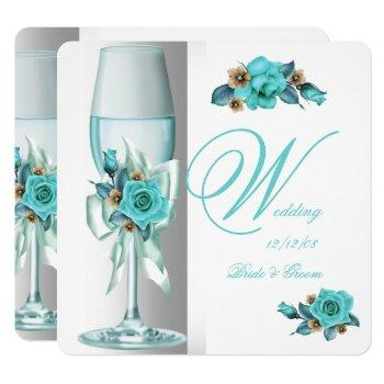 elegant wedding teal white beige rose champagne invitation