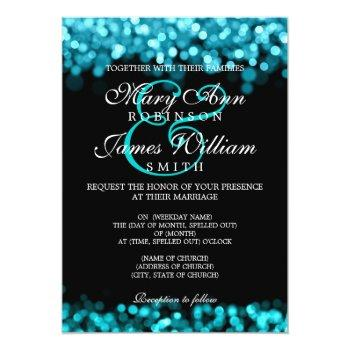 Small Elegant Wedding Turquoise Lights Invitation Front View