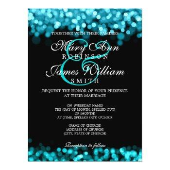 elegant wedding turquoise lights invitation