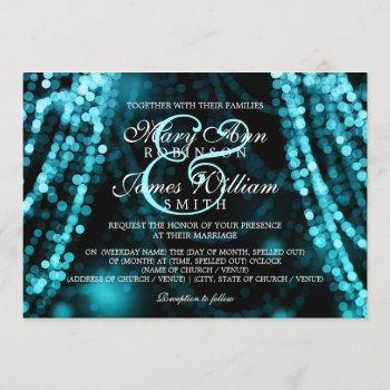elegant wedding turquoise string lights invitation