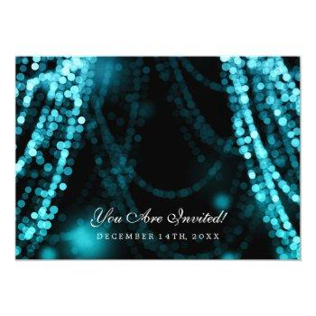 Small Elegant Wedding Turquoise String Lights Invitation Back View