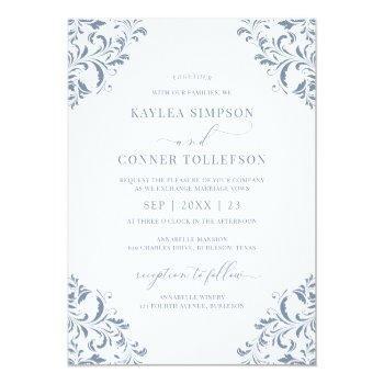 elegant wedding vintage dusty blue calligraphy invitation