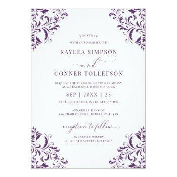 elegant wedding vintage plum / purple calligraphy invitation
