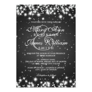 Small Elegant Wedding Winter Sparkle Black Invitation Front View