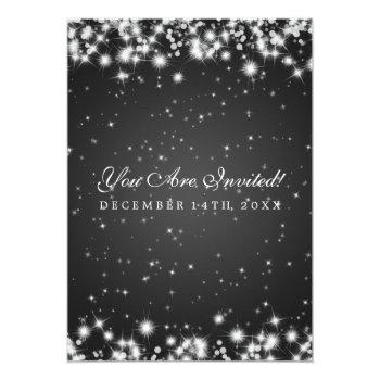 Small Elegant Wedding Winter Sparkle Black Invitation Back View