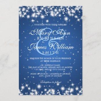 elegant wedding winter sparkle blue invitation