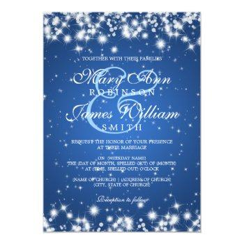 elegant wedding winter sparkle blue invitation