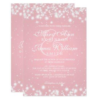 elegant wedding winter sparkle blush invitation