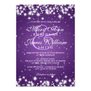 elegant wedding winter sparkle purple invitation