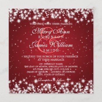 elegant wedding winter sparkle red invitation