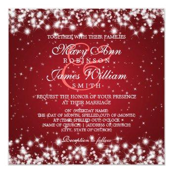 elegant wedding winter sparkle red invitation