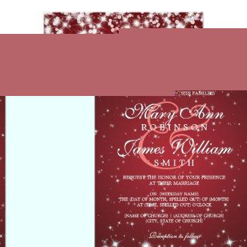 Small Elegant Wedding Winter Sparkle Red Invitation Front View