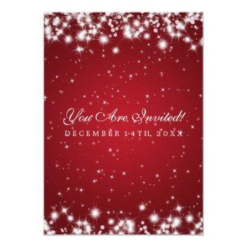 Small Elegant Wedding Winter Sparkle Red Invitation Back View