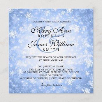 elegant wedding winter wonderland sparkle blue invitation