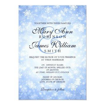 elegant wedding winter wonderland sparkle blue invitation